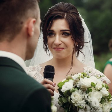 bride in stylish white wedding dress