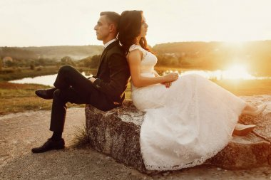 Romantic couple of newlyweds