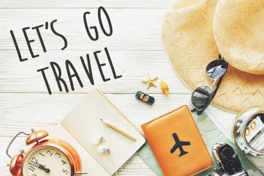 let's go travel text sign
