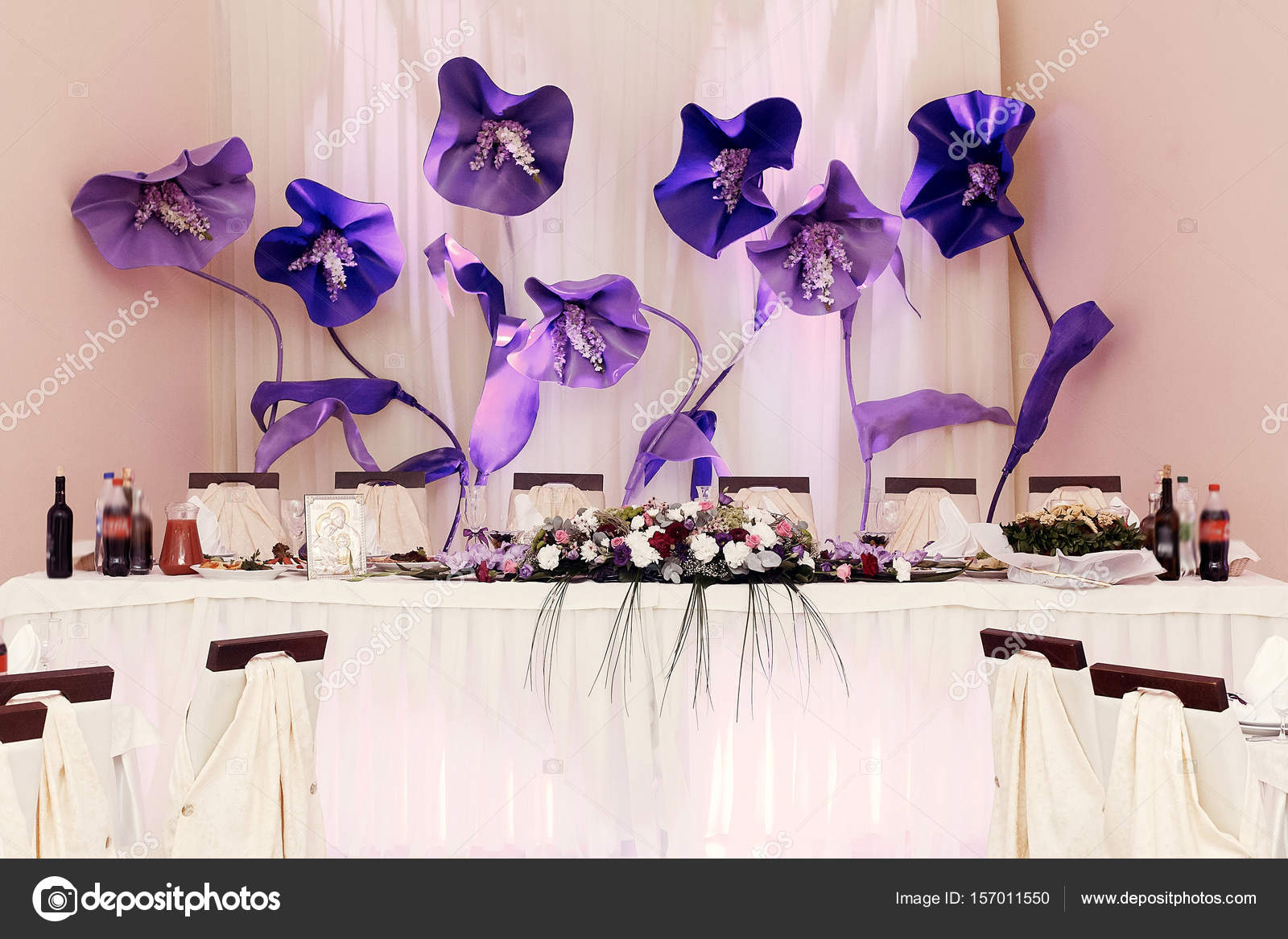 Big Purple Flowers At Wedding Stock Photo Sonyachny 157011550