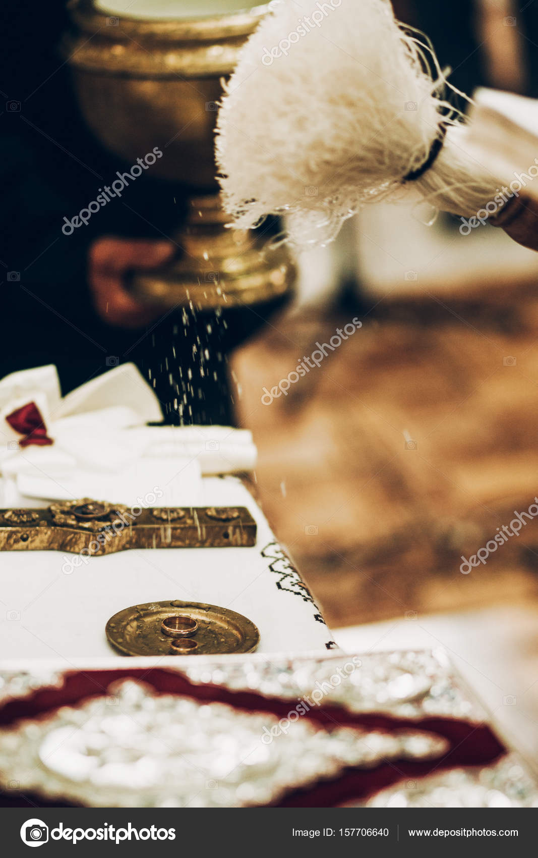 priest blessing wedding rings Stock Photo Sonyachny 157706640
