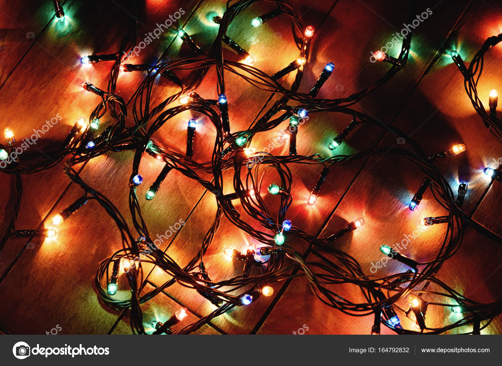 Stylish Retro Christmas Garland Lights On Wooden Background Photo By Sonyachny