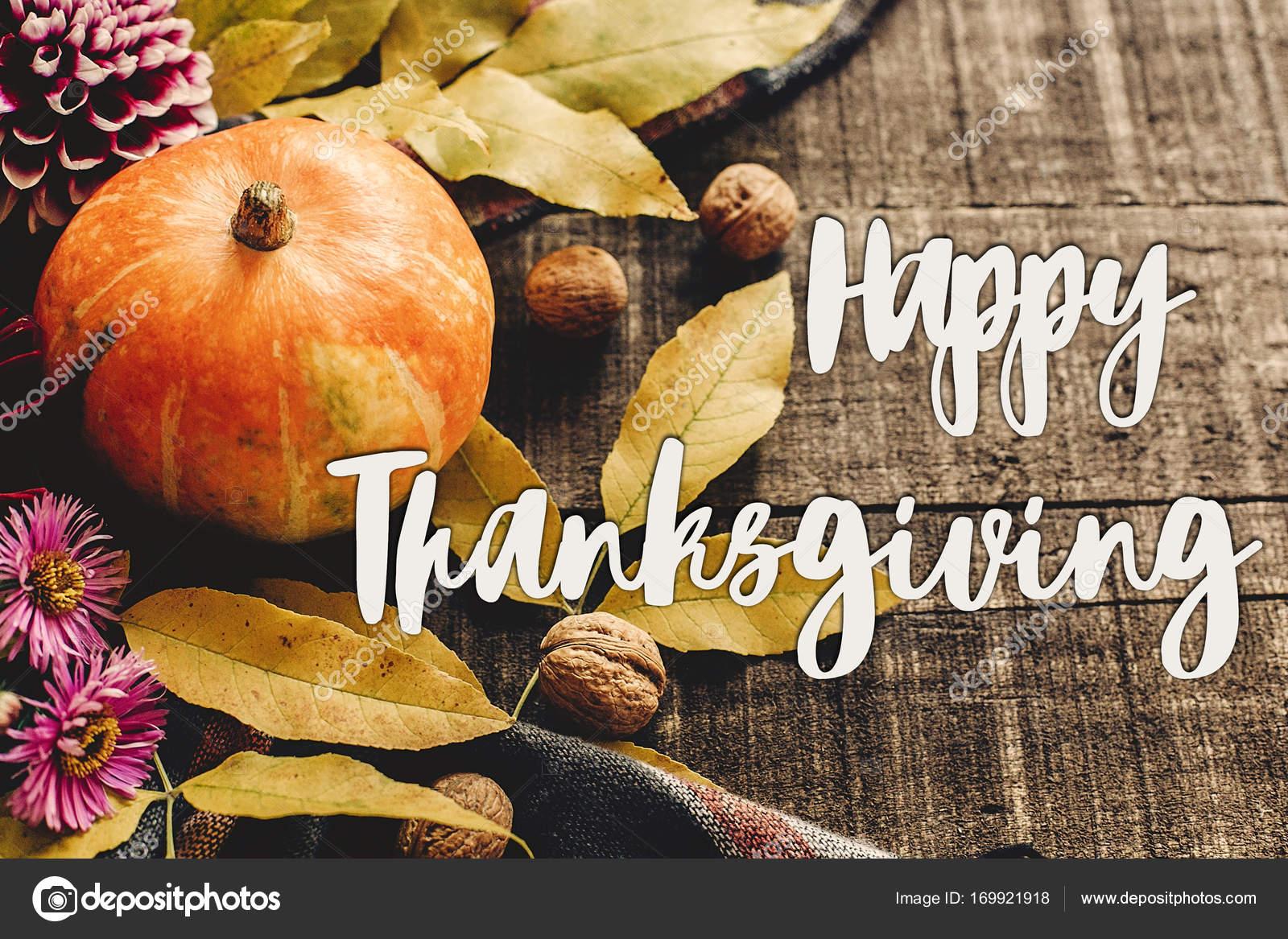 glückliche Danksagung Text zu signieren, auf Herbst Kürbis mit ...