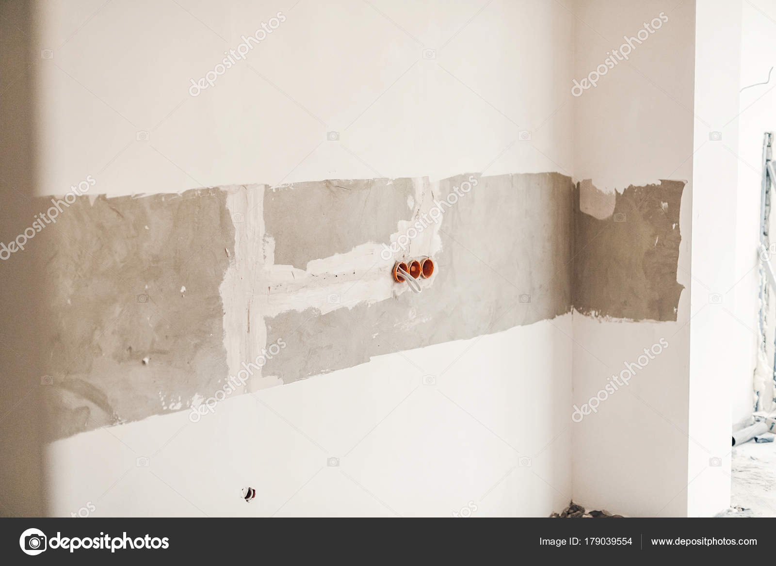 Renovation Concept Electric Wires Cables Holes Grey Cement Wall Wiring Behind Plaster Walls Stock Photo