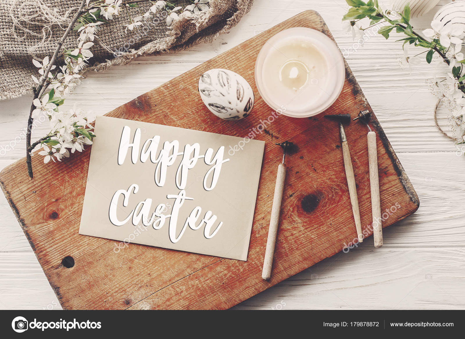 Happy Easter Text Flat Lay Flowers Stylish Eggs Rustic Wooden