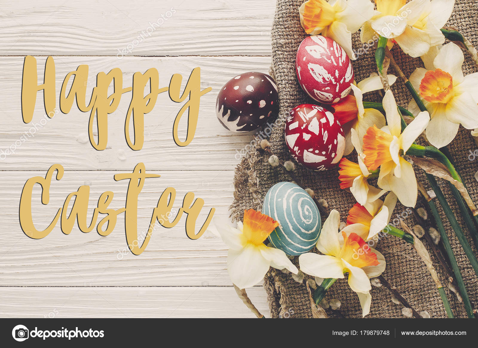 Happy Easter Text Flat Lay Flowers Daffodils Stylish Eggs Rustic