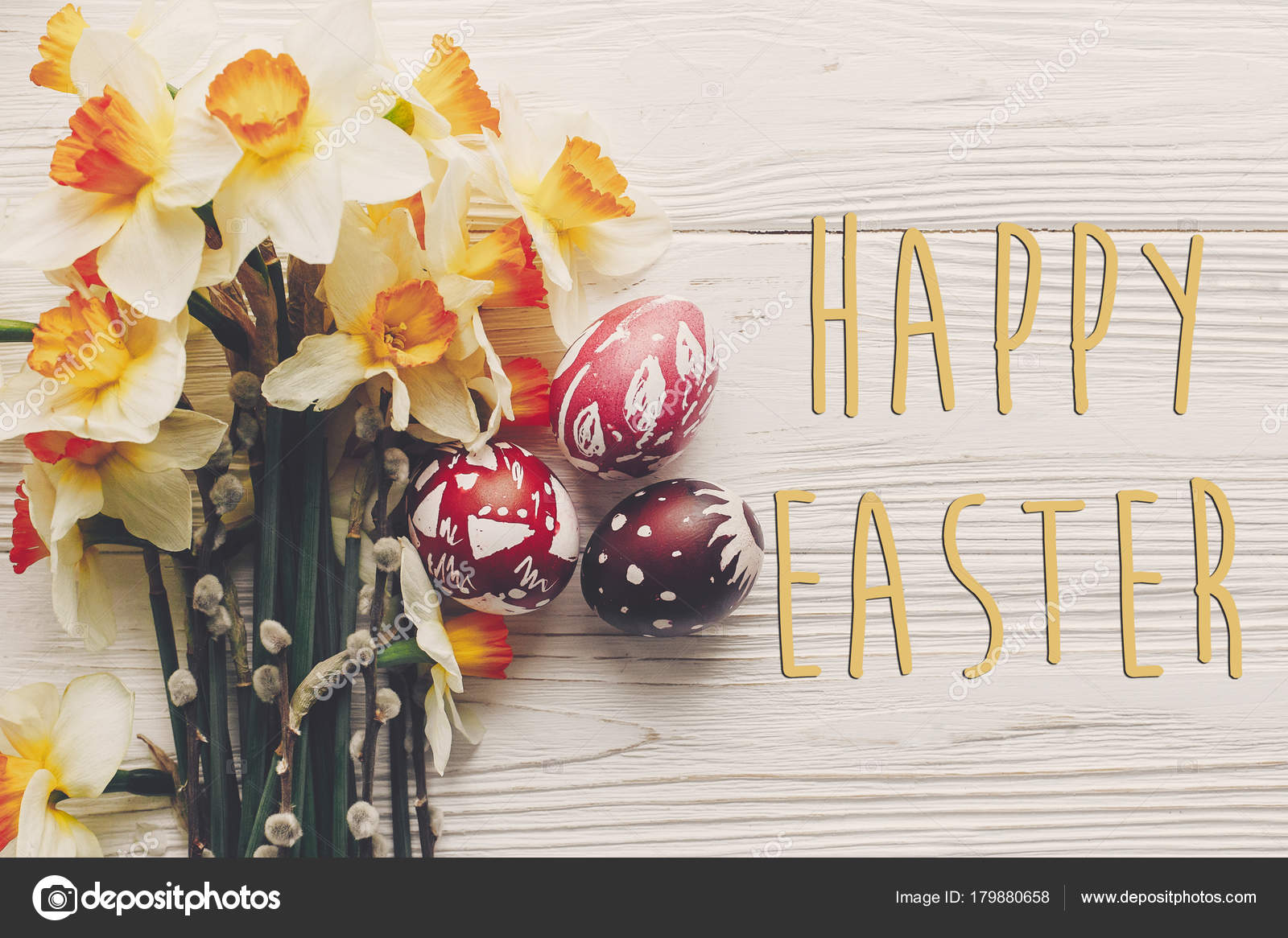 Happy Easter Text Flat Lay Flowers Daffodils Stylish Eggs Rustic Stock Photo