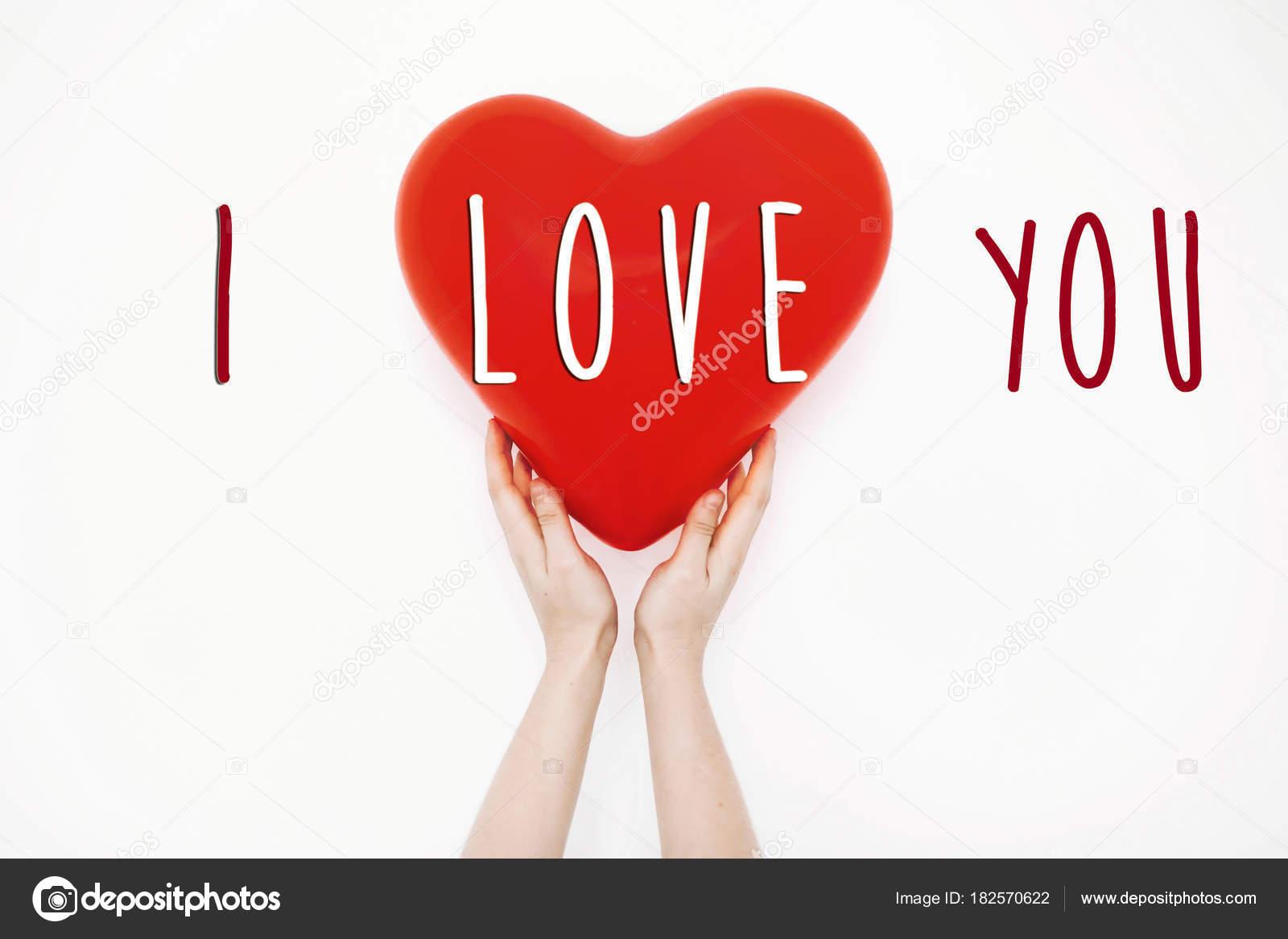 Amo Muestra Texto Concepto Día San Valentín Feliz Mano Sosteniendo ...