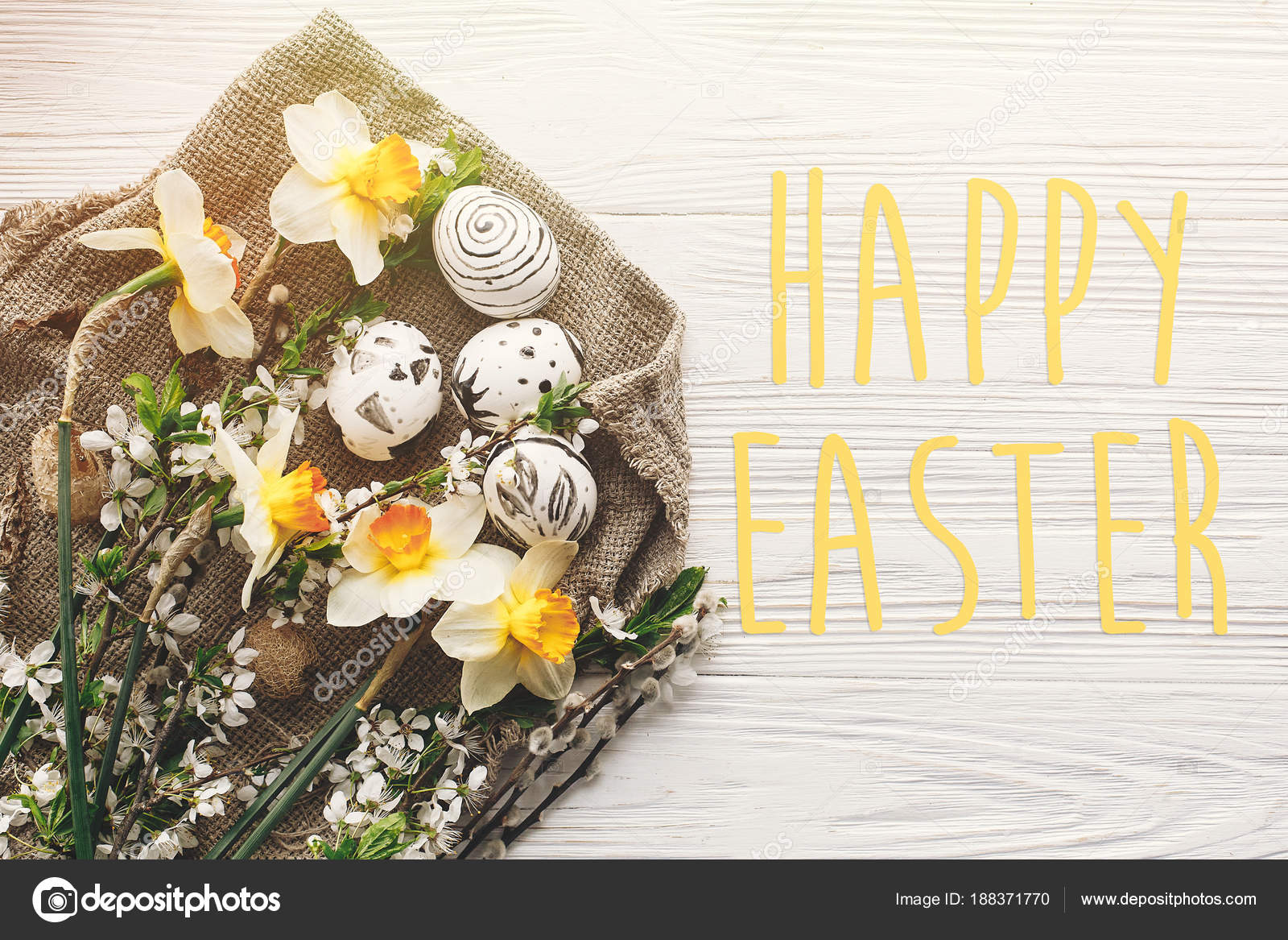 Happy Easter Text Season Greetings Card Stylish Easter Flat Lay
