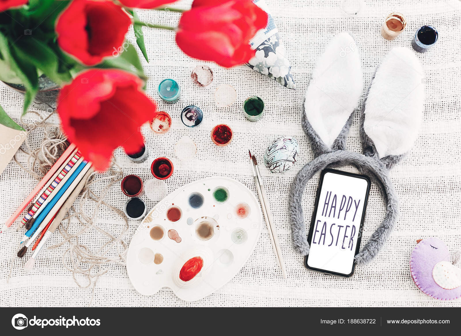 Happy Easter Text Phone Screen Season Greetings Card Bunny Ears