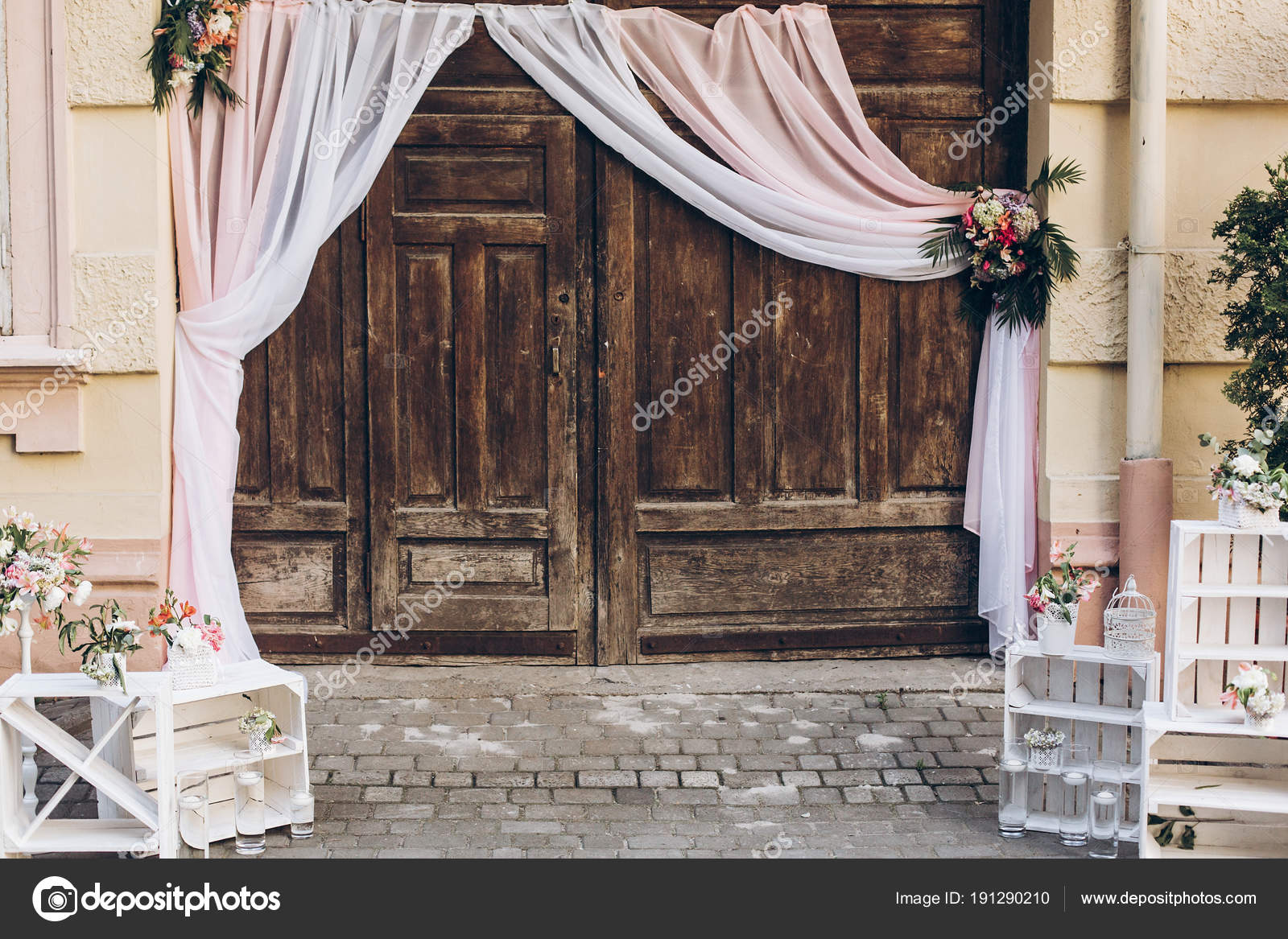 Rustic Wedding Photo Zone Wooden Barn Doors Fabric White Boxes Stock