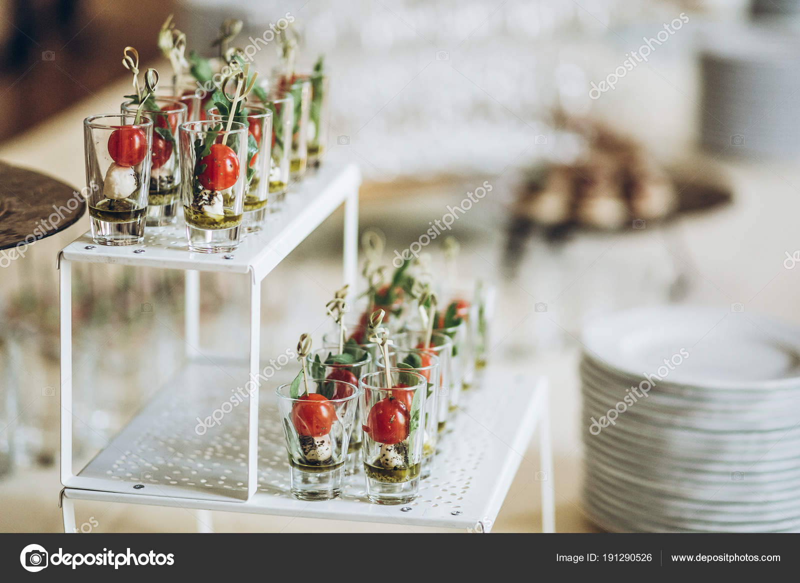 Delicious Appetizers Starters Tomatoes Cheese Glass Plate Table