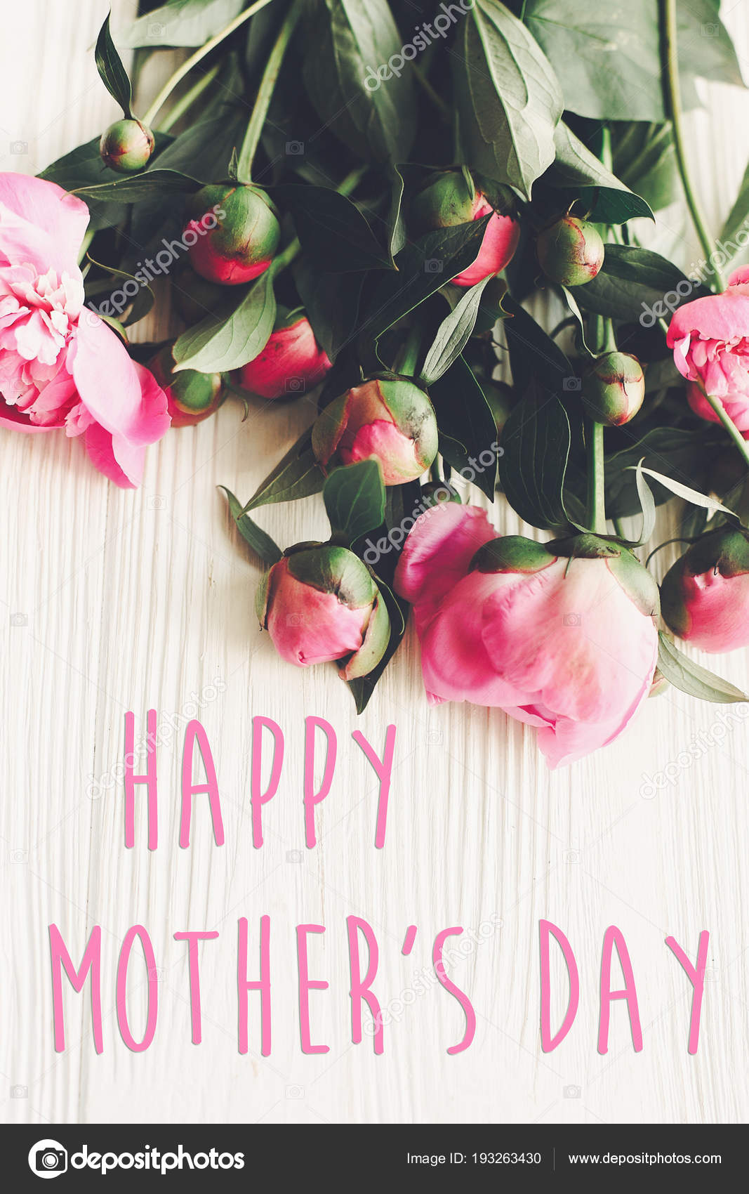 happy mother day text pink peonies bouquet rustic white wooden stock photo