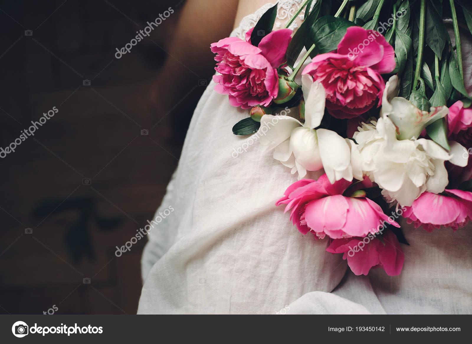 Top View Beautiful Peonies Flowers Legs Stylish Woman White Bohemian