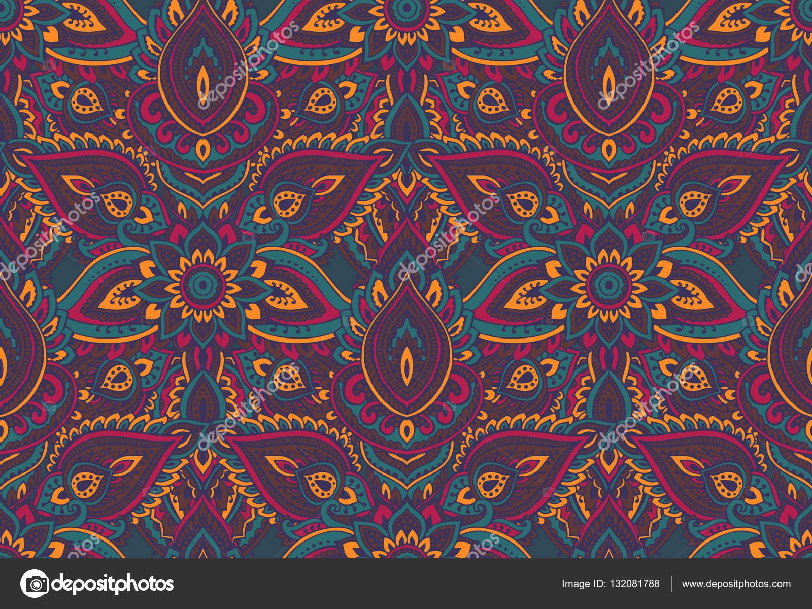 Henna Mehndi Vector : Vector seamless pattern with henna mehndi floral elements. u2014 stock