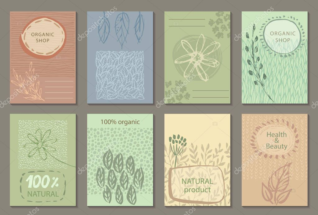 Vector set of eco nature labels or business card templates.