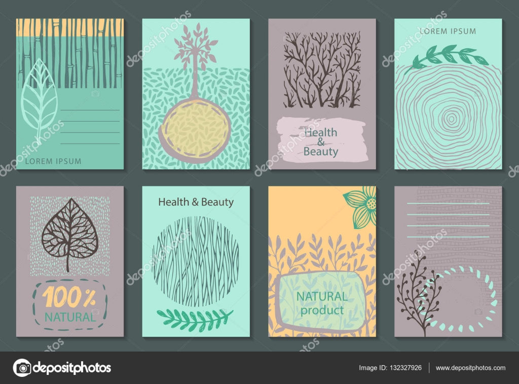 vector set of eco nature labels or business card templates