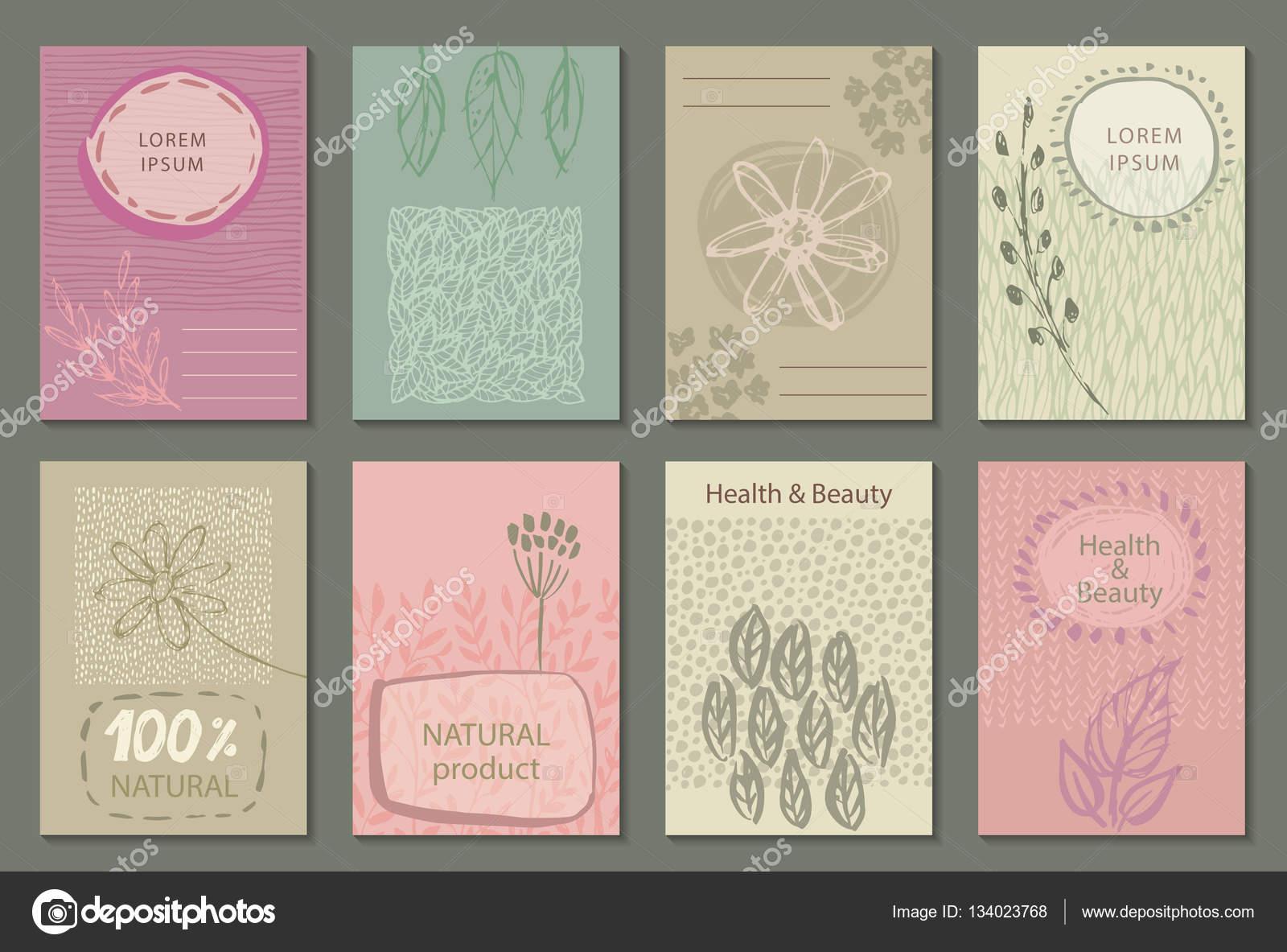 Ensemble De Vecteur Deco Labels Nature Ou Des Modeles Carte Visite Illustration Stock