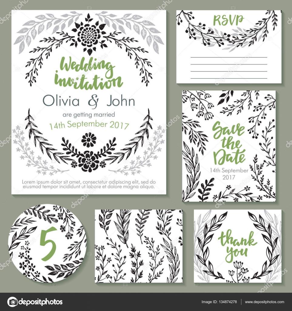 Colección de vectores de la boda. Plantillas para invitación ...