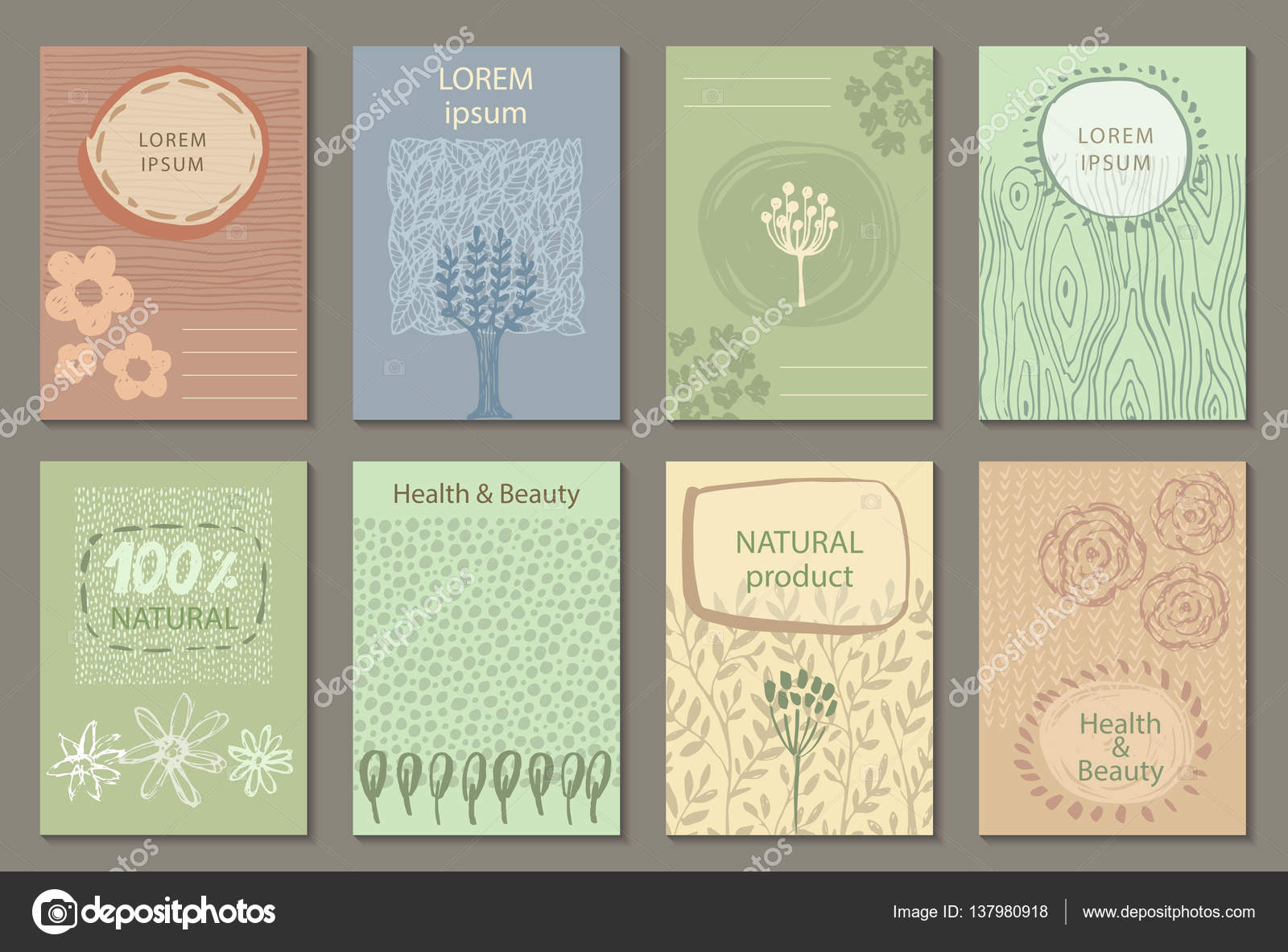 Vector set of eco nature labels or business card templates. — Stock ...