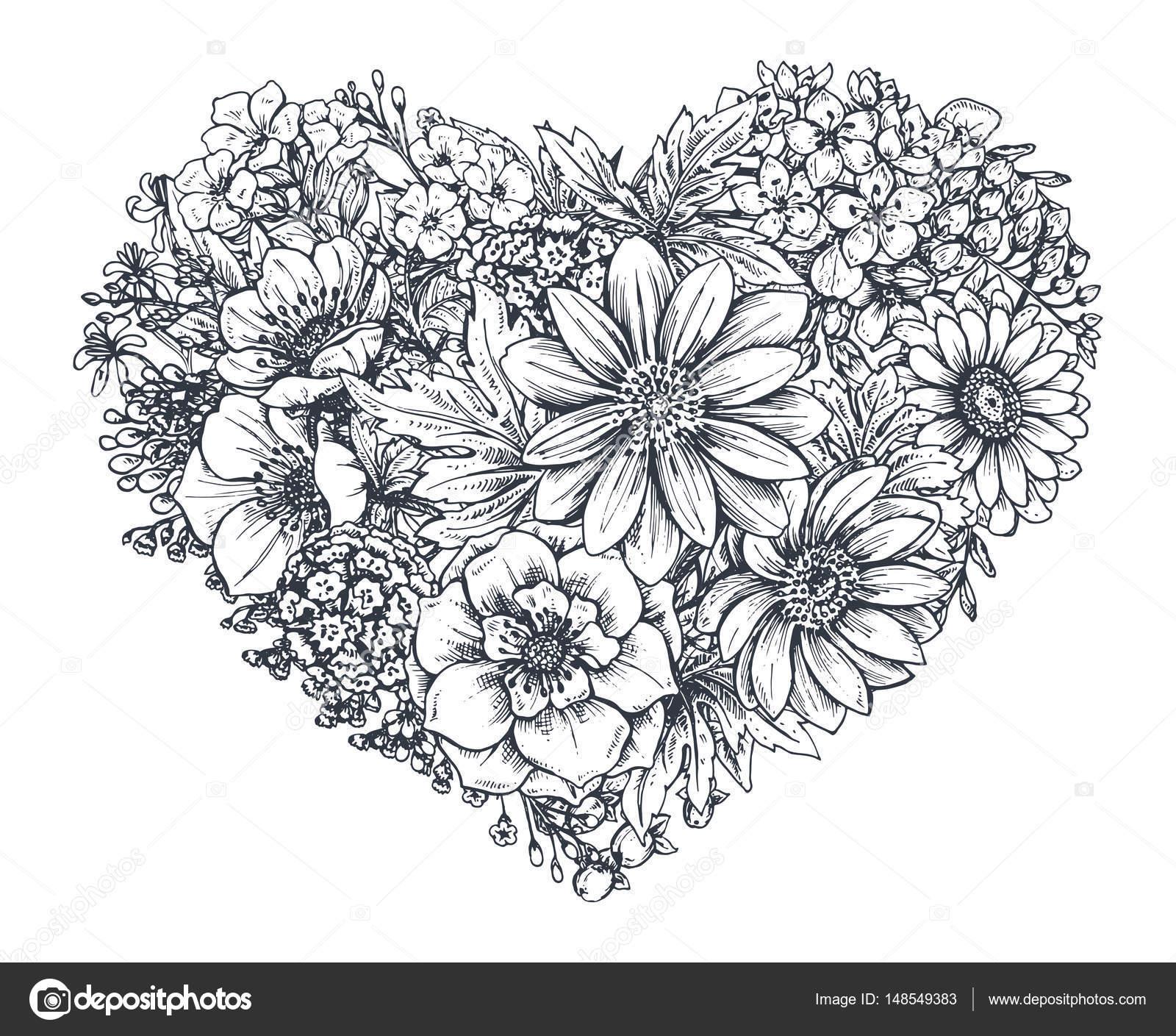 Corazón floral. Ramo de mano plantas y flores de primavera dibujado ...
