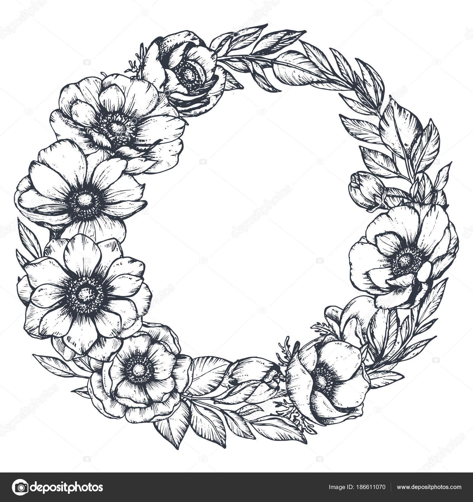 Coloriage Guirlande Fleurs.Vector Noir Et Blanc Floral Guirlande De Fleurs D Anemone