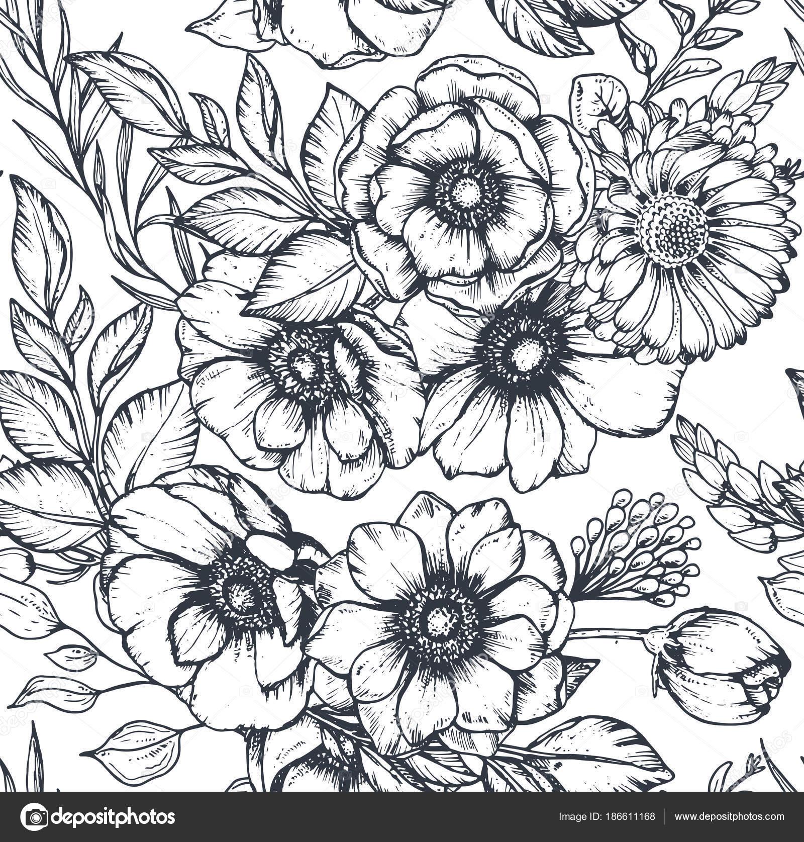 Vektor Schwarz Weisses Nahtloses Muster Mit Handgezeichneten