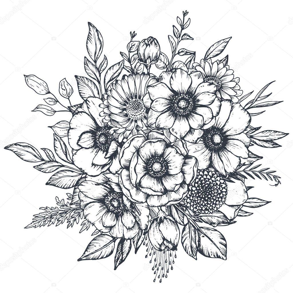 blumen gezeichnet schwarz weiss  my flowers