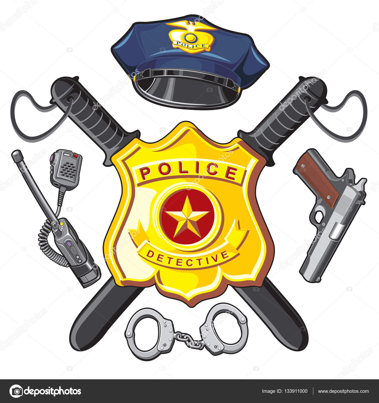 Badge Handgun And Batons Police Stock Vector Pavelmir 133911000