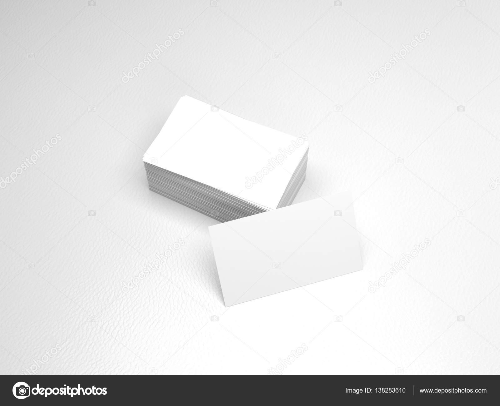 Pile De Cartes Visite Blanches Modle Maquette Nom Sur Fond Cuir Blanc Rendu 3D Avec Shadow Image Flixelhouse