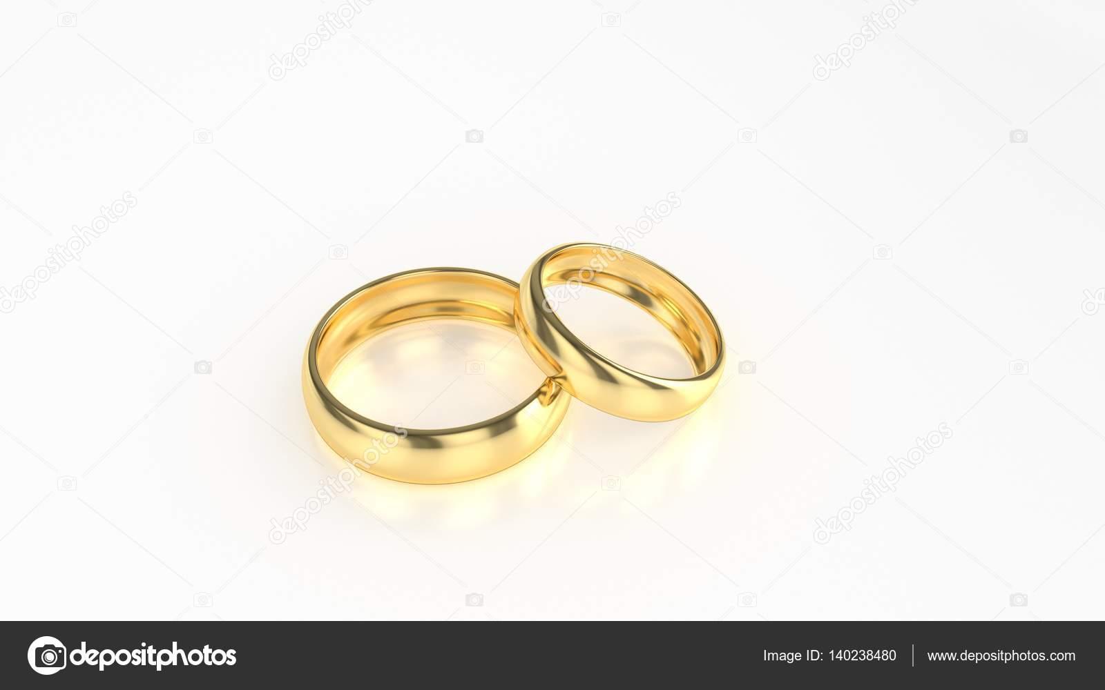 Die Schönheit Gold Hochzeit Ring Auf Weißem Hintergrund 3d