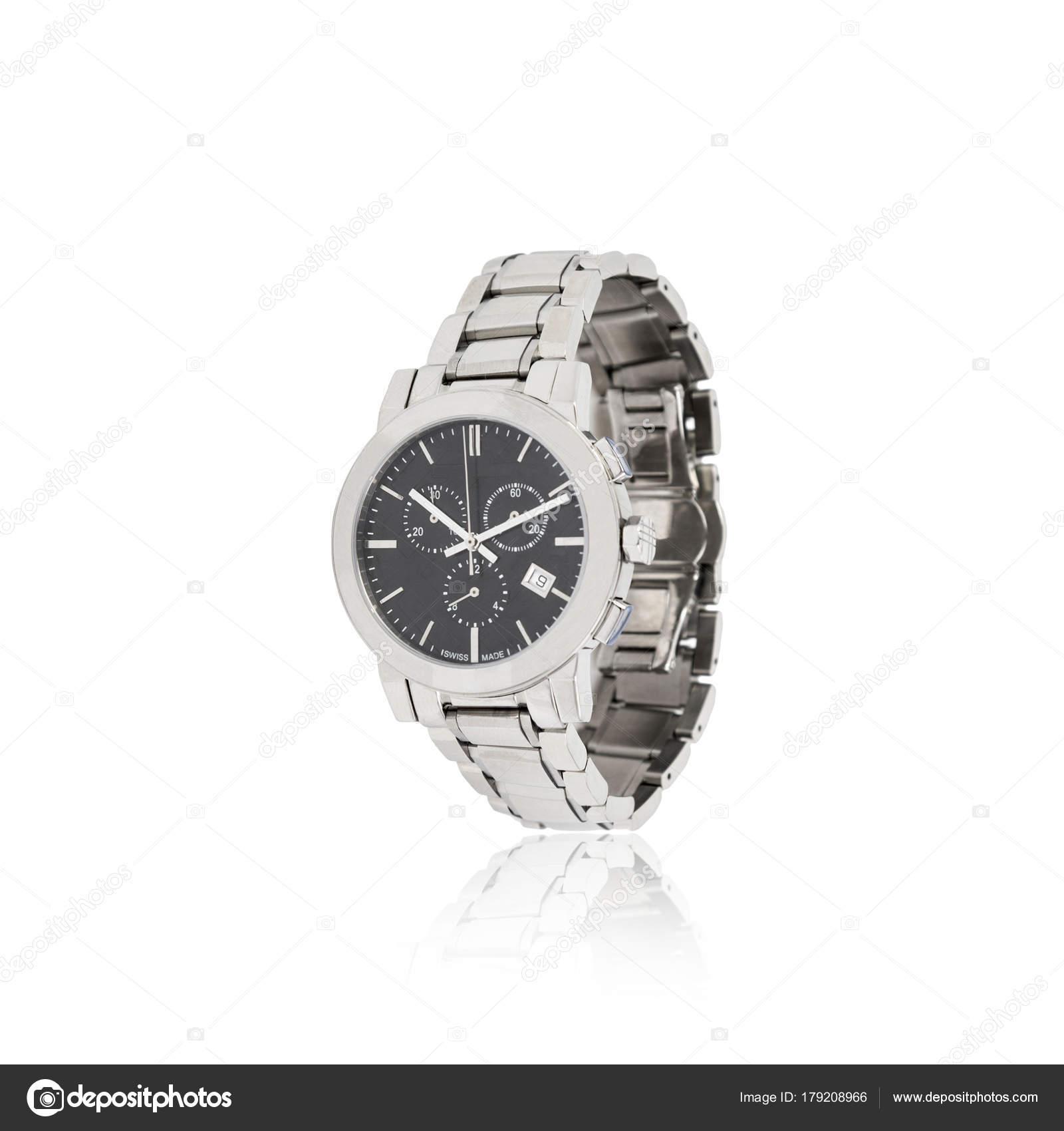 Mechanické stříbrné Pánské hodinky izolované na bílém — Stock ... c007cd9713