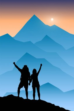 Silhouette of couple hikers with raised hands in a mountain valley at sunrise. Travel, tourism, hike and adventure concept. Vector illustration.