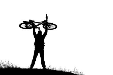Silhouette of cyclist with bicycle isolated on a white background.