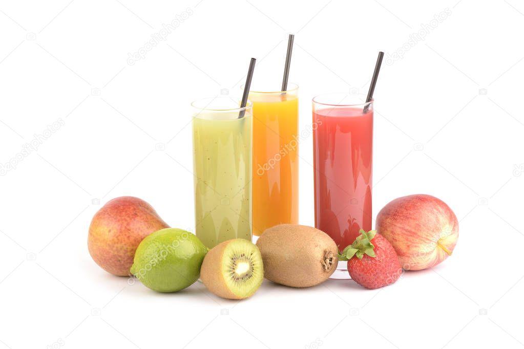 Fresh fruit juices on white