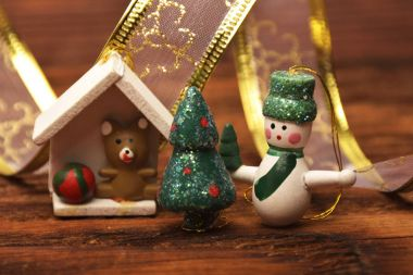 Christmas decorations and ornament on wooden background