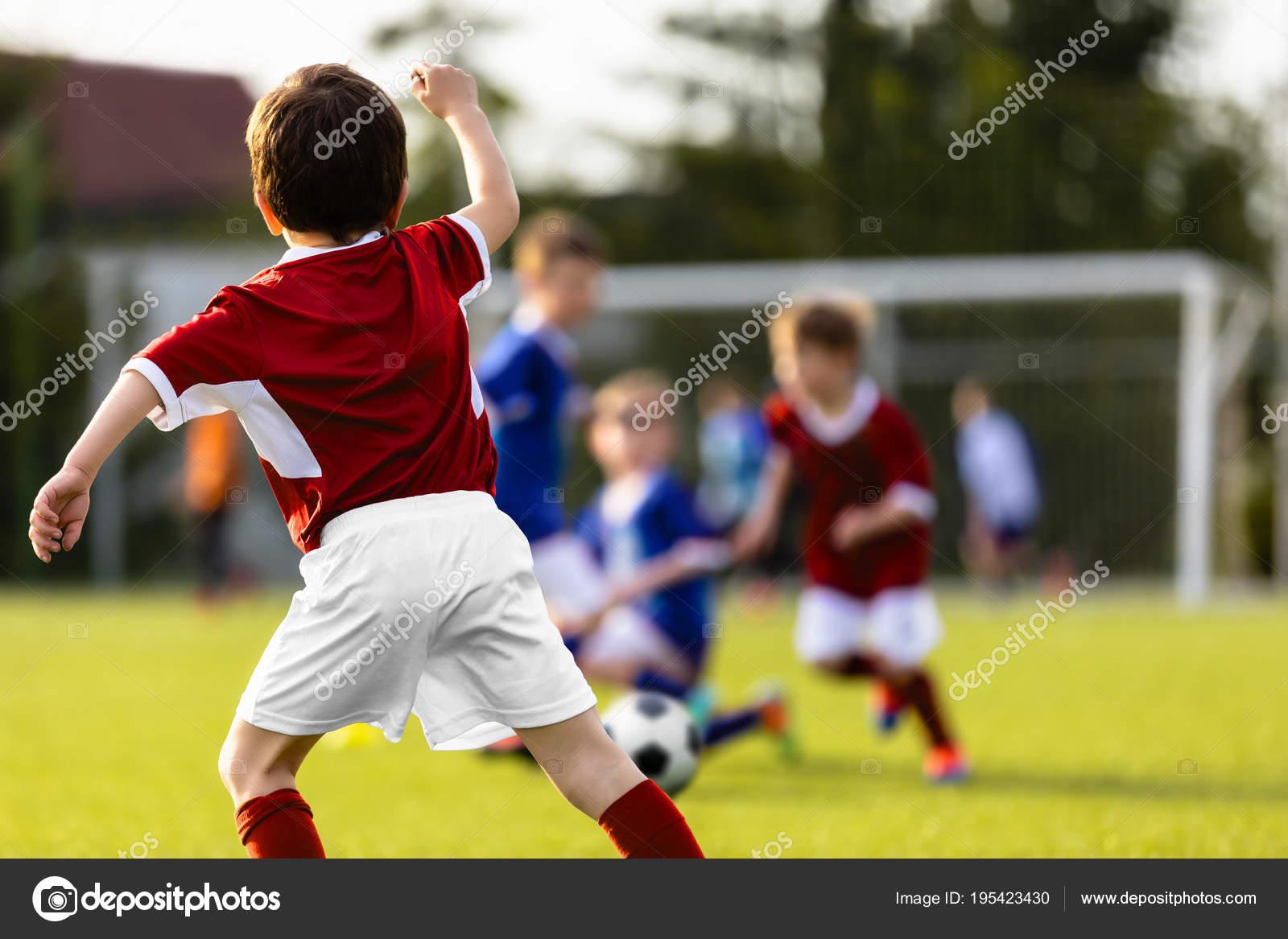 Kinder Spielen Fussball Ausbildung Football Spiel Zwischen
