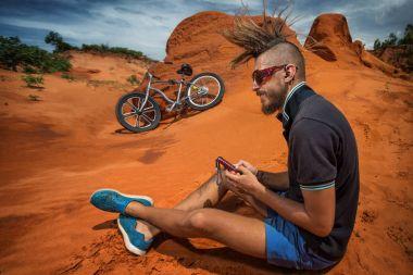 Biker taking a rest