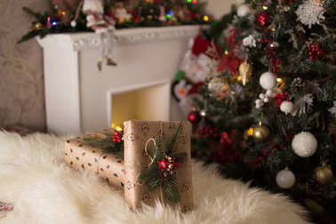 gifts near the Christmas tree