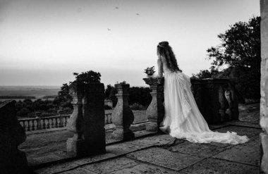 beautiful girl in a charming castle, bride in white dress, black and white
