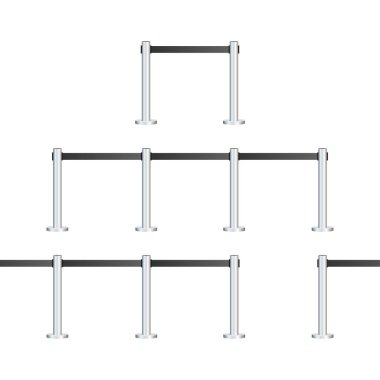 Barrier fence set various types for club and museum. Vector stock illustration.