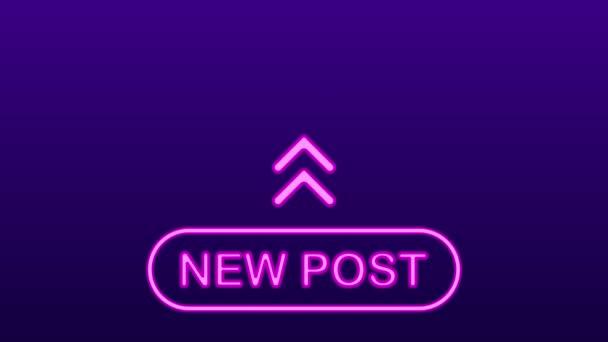 New post neon text. Social media content. Vlogging.