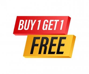 Buy 1 Get 1 Free, sale tag, banner design template. Vector stock illustration