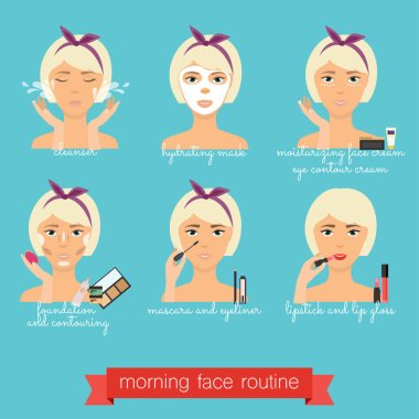 Morning face care routine
