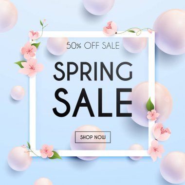 Sale Banner with flowers