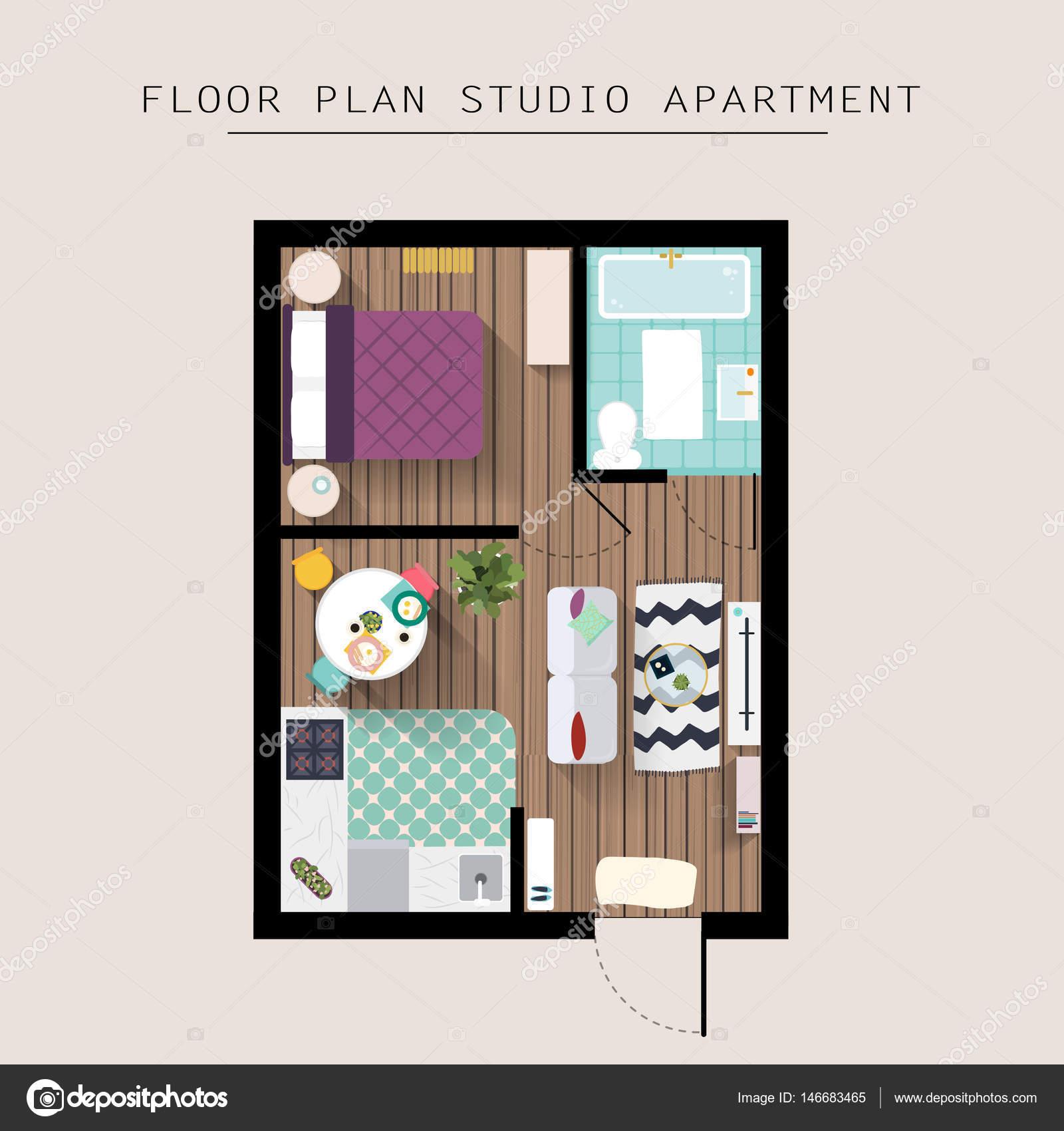 Muebles de Apartamento detallada — Archivo Imágenes Vectoriales ...