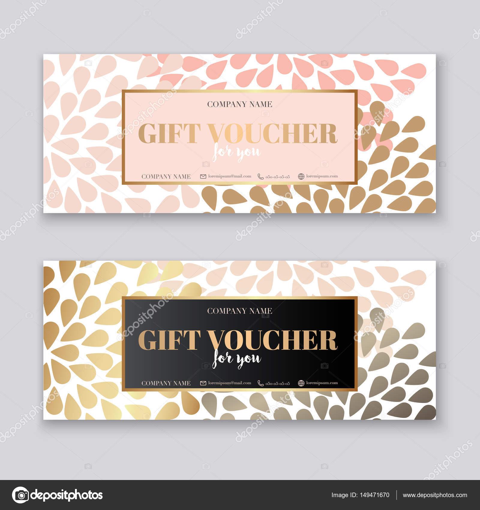 Gutschein Vorlage mit gold Geschenk-box — Stockvektor ...