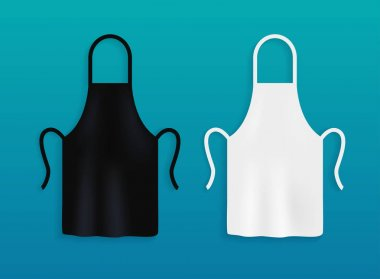 White and black kitchen aprons.