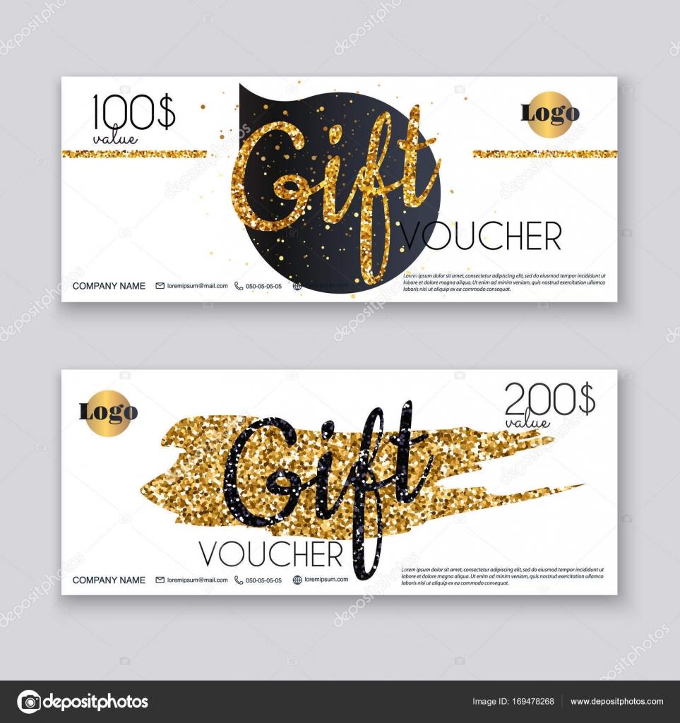 Gutschein Vorlage mit gold Geschenk Schild — Stockvektor ...