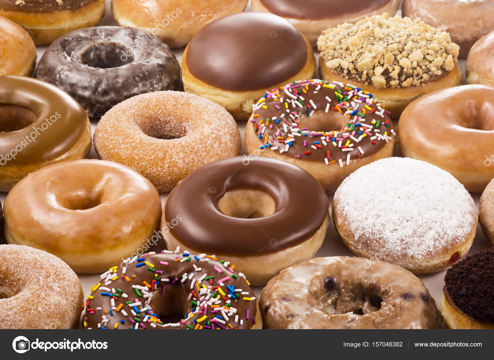 Background Of Different Types And Flavors Of Donuts